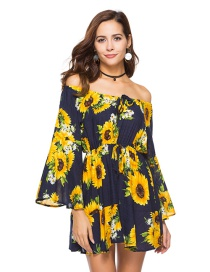 Elegant Yellow+navy Off-the-shoulder Shape Decorated Dress