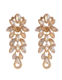 Elegant Champagne Pure Color Decorated Earrings
