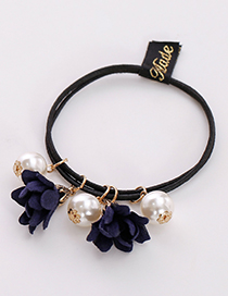 Fashion Navy Three Flowers Shape Decorated Hair Band