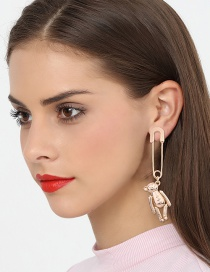 Fashion Gold Color Bear Shape Decorated Earrings (1 Pc )