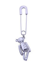 Fashion Silver Color Bear Shape Decorated Brooch (1 Pc)