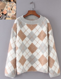 Fashion Gray Grid Pattern Decorated Sweater