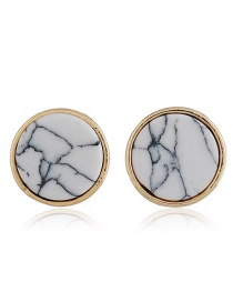 Elagent White Round Shape Decorated Earrings