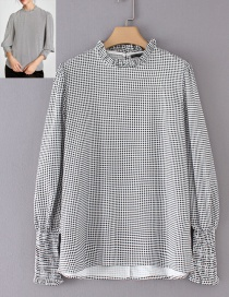 Fashion Black+white Grid Shape Decorated Blouse