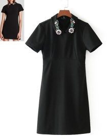 Fashion Black Diamond Decorated Short Sleeves Dress