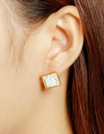 Fashion Gold Color+white Square Shape Decorated Earrings