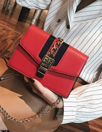Fashion Red Chains Decorated Square Shape Shoulder Bag(big)