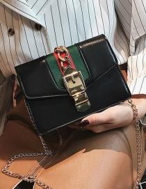 Fashion Black Chains Decorated Square Shape Shoulder Bag(big)