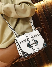 Fashion White Rivets Decorated Square Shape Shoulder Bag