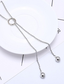 Fashion Silver Color Pearls Decorated Long Tassel Necklace