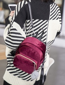 Fashion Claret-red Pure Color Decorated Backpack