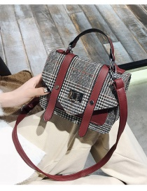 Vintage Red Grid Shape Decorated Bags