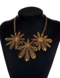 Fashion Gold Color Flowers Shape Decorated Necklace