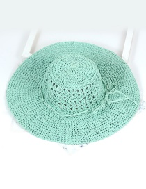 Trendy Blue Pure Color Decorated Hollow Out Hat