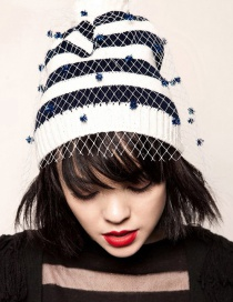 Trendy Navy+white Stripe Pattern Decorated Knitting Cap