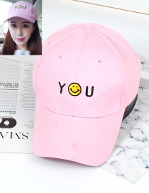 Trendy Pink Smiling Face Decorated Baseball Cap