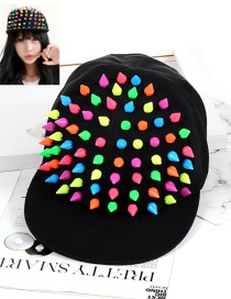 Fashion Multi-color Rivet Decorated Hat