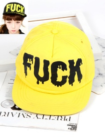 Fashion Yellow Letter Shape Decorated Hat