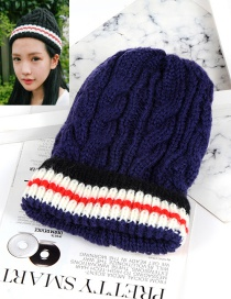 Fashion Dark Blue Color-matching Decorated Hat