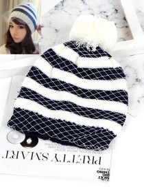 Fashion Blue+white Color-matching Decorated Hat