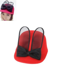 Fashion Red Bowknot Shape Decorated Hat