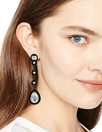 Fashion Multi-color Water Drop Shape Diamond Decorated Long Earrings