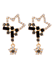 Fashion Black Stars Shape Design Hollow Out Earrings