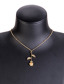 Fashion Gold Color Leaf Pendant Decorated Simple Necklace