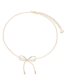 Fashion Gold Color Bowknot Decorated Pure Color Choker
