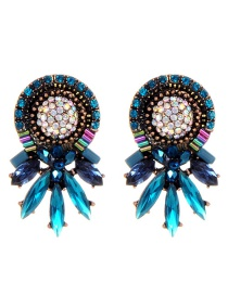 Fashion Blue Full Diamond Decorated Simple Earrings