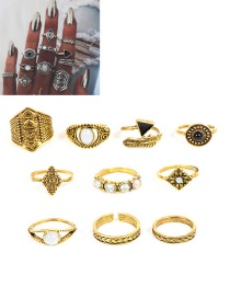 Fashion Gold Color Flower Pattern Decorated Ring Sets(10pcs)