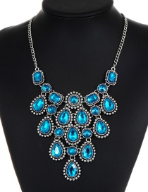 Fashion Blue Diamond Decorated Pure Color Necklace