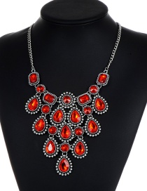 Fashion Red Diamond Decorated Pure Color Necklace