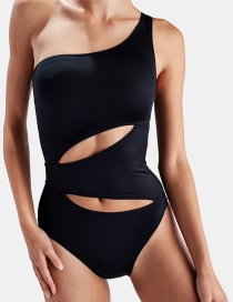 Sexy Black Pure Color Design One-shoulder Swimwear