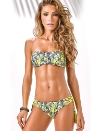 Sexy Multi-color Bamboo Pattern Decorated Strapless Swimwear