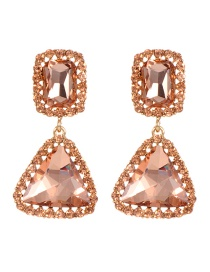 Fashion Champagne Triangle Shape Decorated Earrings