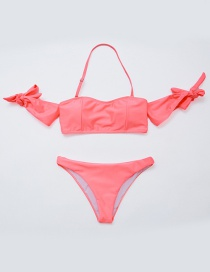 Sexy Pink Pure Color Decorated Swimwear