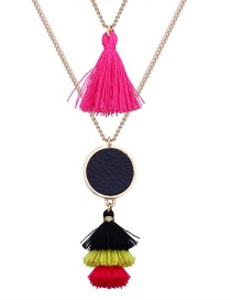 Fashion Plum-red Round Shape Decorated Necklace
