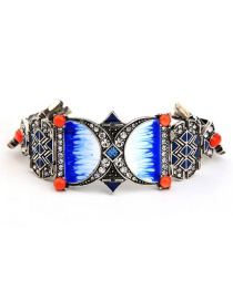 Vintage Blue Geometric Shape Decorated Bracelet