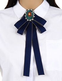 Fashion Navy Oval Shape Decorated Bowknot Brooch