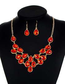 Fashion Red Waterdrop Shape Diamond Decorated Jewelry Set