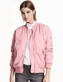 Fashion Pink Pure Color Decorated Cote