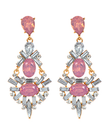 Elegant Pink Geometric Shape Decorated Earrings