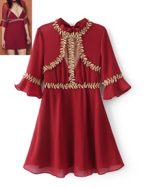 Fashion Red Leaf Shape Decorated Dress