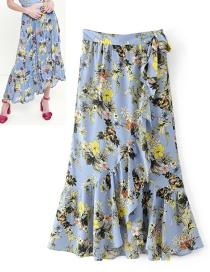 Fashion Blue Flower Pattern Decorated Dress