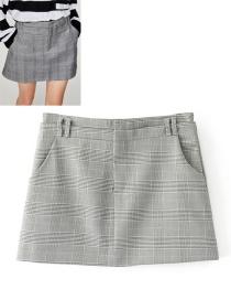 Fashion Gray Grid Shape Decorated Shirt
