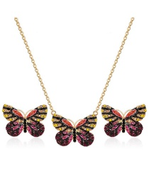 Fashion Gold Color+purple Butterfly Shape Decorated Jewelry Sets(2pcs)