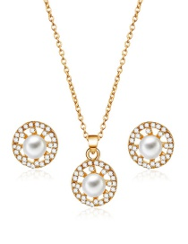 Fashion Gold Color Round Shape Decorated Jewelry Sets(2pcs)