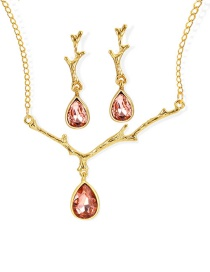 Fashion Gold Color Waterdrop Shape Decortaed Jewelry Sets(2pcs)