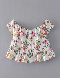 Fashion White Flower Pattern Decorated Smock
